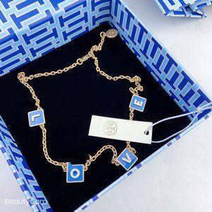 Tory Burch Enamel Love Letter Necklace